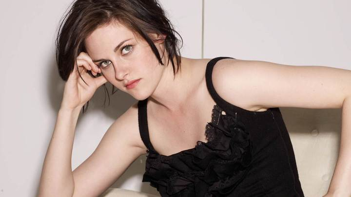 Kristen Stewart Sitting In Black Dress